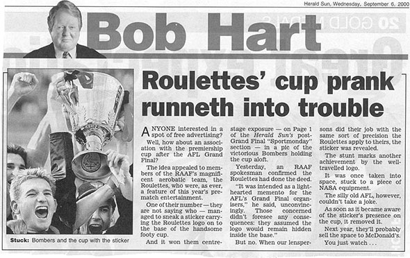 Roulettes' sticker on the ALF Cup~Melbourne Newspaper